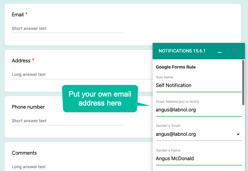 Self Email Notifications