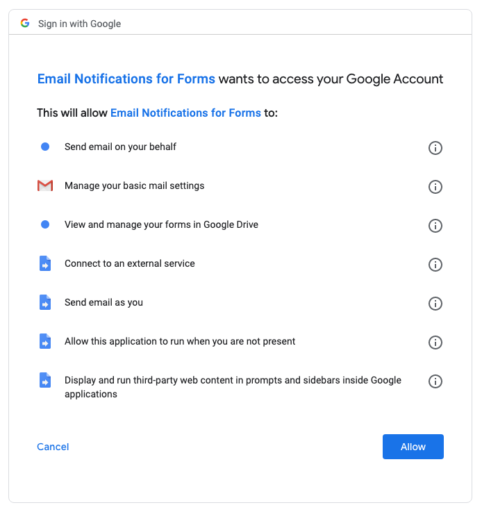 Google Forms permissions