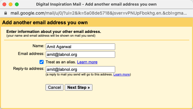 Verify GMail address