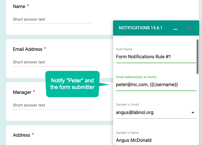 Notify Form Submitter