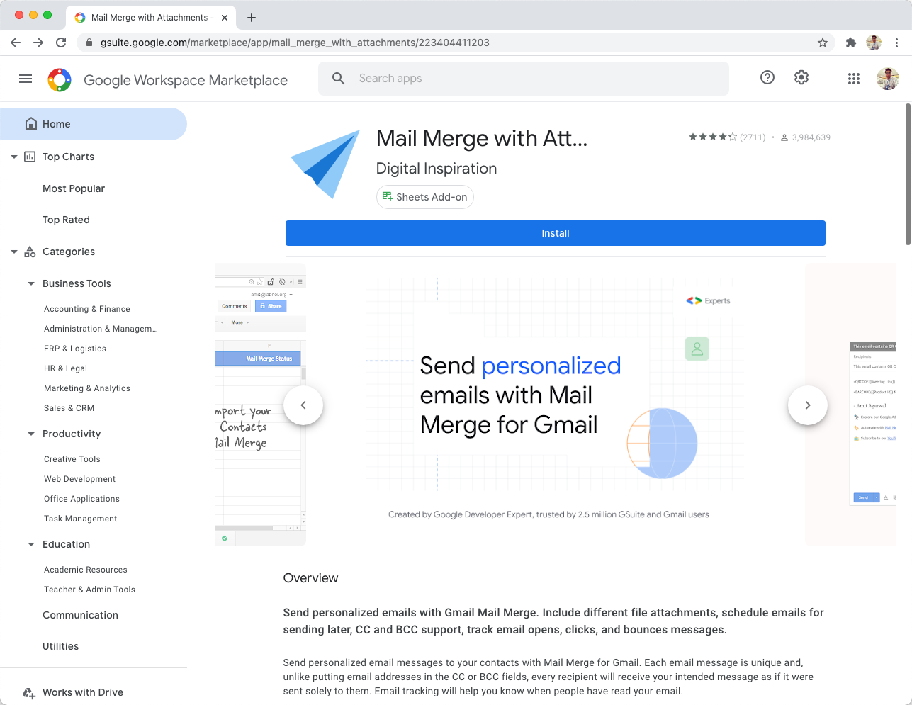 Install Mail Merge for Gmail