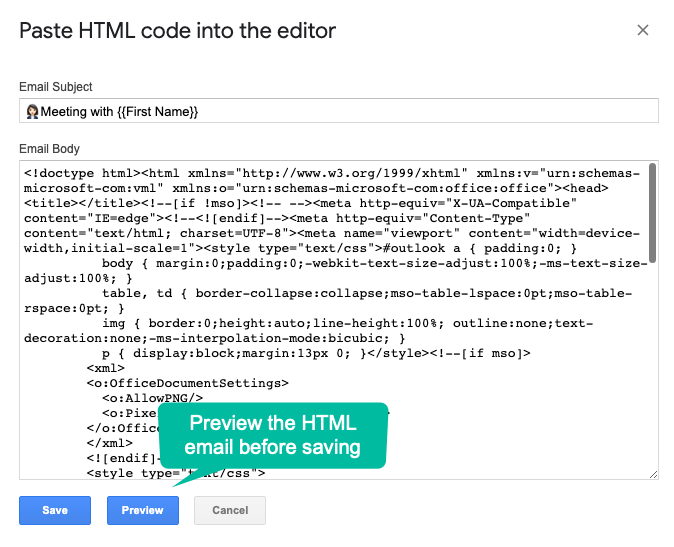 Preview HTML mail