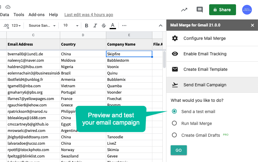 Test your Mail Merge Campaign