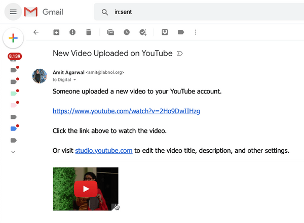 Video Upload Email Notifications