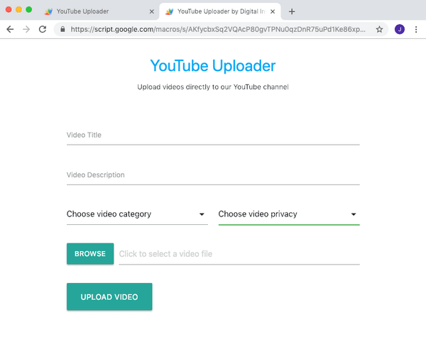 YouTube Video Upload Form